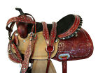 WESTERN COWBOY SADDLE 15 16 PLEASURE RACER RACING TRAIL TOOLED LEATHER BARREL