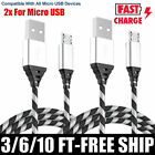 2-Pack Micro USB Charger Fast Charging Cable Cord For Samsung Android Phone