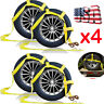 2Set/4* Car Dolly Wheel Net Tire Basket Tow Strap Snap Hook Heavy Duty Yellow