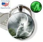 Wolves Luminous Picture Glass Keychain Wolf Key Ring Glow In The Dark - Choices