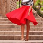 Women's Vintage High Waist Stretch Skater Pleated Flared Long Skirt Swing Dress