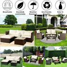 Rattan Garden Corner Sofa Table Chair Furniture Set Grey Brown Black Gray Patio