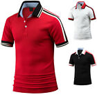 Mens Stripe Shoulder Short Sleeve Pique Polo Casual Collar T-Shirts Tops W33 S-L