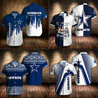 Dallas Cowboys Football Shirts Summer Regular Fit Button Down Shirt Short Sleeve