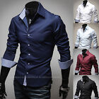 Mens  Luxury Long Sleeve Business Casual Dress Shirts Formal Tops W314 XS/S/M