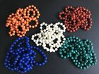 Long Rope Plastic Bead Strand Necklace in 5 colour Options Retro Fancy Dress