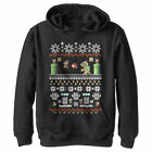 Nintendo Mario and Bowser Ugly Christmas Sweater Boys Graphic Lightweight Hoodie