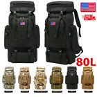 80L Large Military Shoulder Backpack Waterproof Tactical Climbing Hiking Bag