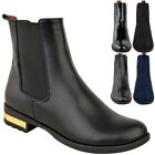 Womens Ladies Flat Chelsea Ankle Boots Black Smart Work Office Size
