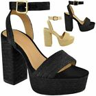Womens Ladies High Block Heel Platform Sandals Natural Nude Espadrilles Summer
