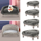 Handmade Wicker Pet Bed Dog Cat Sofa Couch Puppy Vintage Chair with Grey Cushion
