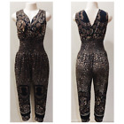 Women's Party Cheetah Casual Summer Sleeveless Jumpsuit Romper Dress w/pockets