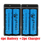 4X 18650 3.7V Li-ion Lithium Rechargeable Batteries + 2X Smart Charger UltraFire