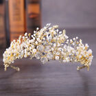 8.5cm High Flower Pearl Crystal Tiara Crown Wedding Party Pageant Prom 2 Colors