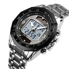 SKMEI Men Outdoor Sport Solar Power Watch Digital Analog Waterproof GMT Watch US image