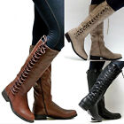 Women Combat Knee High Lace Up Boots Ladies Zip Riding Military Shoes Size3.5-8