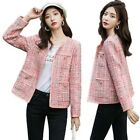 Women's Inspired Knit Blazer Jacket Long Sleeve Pockets Spring Fall Short Coat L