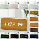 Digital LED Wood Wooden Desk Alarm Clock Timer Thermometer Snooze Voice Control