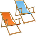 Charles Bentley Folding FSC Eucalyptus Wooden Deck Chair in Teal Or Orange