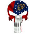 Skull State Of Georgia Cut Out Vinyl Window Bumper Flag Decal Various Sizes