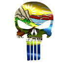 Skull State Of Montana Cut Out Vinyl Window Bumper Flag Decal Various Sizes