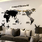 3d Map Of World Smooth Solid Crystal Acrylic Wall Sticker Home Office Decor Au