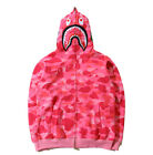 BAPE Men's A Bathing Ape Shark Hooded Hoodie Camo Full Zip Sweater Coat Jacket
