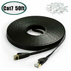50FT CAT7 CAT 7 Flat Ethernet Cable LAN RJ45 Internet Router Patch Cord 50 Feet