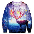 Mens Womens Carnival 3D Ugly Sweater Sweatshirt Funny Xmas Party Jumper Pullover