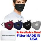 Cotton Cloth Face Mask Adjustable Reusable Washable Breathable With Valve+filter