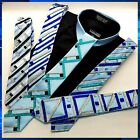 ELEGANT ONE OF A KIND BLUE COLOR TIES/W STRIPE RHINESTONES FOR FANCY NIGHT OUT