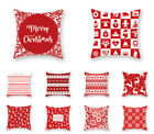 Red Christmas Xmas Pillow Covers Cushion Cover Throw Pillow Case Home Sofa Decor