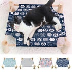 Raised Cat Beds for Indoor Cats Wood Frame Elevated Dog Bed Pet Nest Hammock Mat