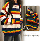 Unisex Rainbow Striped Sweater Pullover Jumper Knitted Casual Harajuku Fashion