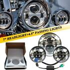 """7"""" Chrome LED Projector Headlight 6500K + Passing Lights fit Harley Touring"""