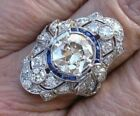 Vintage Art Deco 3.24Ct White Round Diamond Engagement Ring 925 Sterling Silver