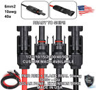 1 Pair Black + Red Solar Panel Extension Cable Wire Solar Connectors 10AWG