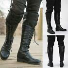 Medieval Shoes Lace Up Black Boots Knight Cosplay Retro Steampunk Renaissance