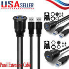 USB 3.0 Male to USB 3.0 Female Flush Mount Car Truck Boat Mount Extension Cable
