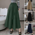 Women Culottes Wide Legs Palazzo Pants Skirt High Waist Zipper Long Trousers NEW