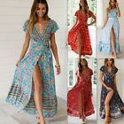 Women's Wrap Boho Floral Paisley Maxi Dress Ladies Summer Holiday Beach dersses