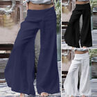 ZANZEA Women Linen Cotton Long Pants Mid Waist Full Length Solid Loose Trousers