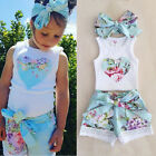 Summer Toddler Kids Baby Girls Floral Tops+Lace Shorts Pants Outfits Clothes Set