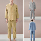 2PCS Mens Cotton Long Sleeve Check Pajamas Set Sleepwear Nightwear Loungwear Set
