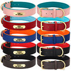 S-2XL Custom Dog Pet Collars w/ Nameplate Engraved Soft Leather Neoprene Padded
