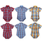 Infant Baby Boys Girls Shirts Romper Summer Short Sleeves Lapel Plaid Jumpsuits