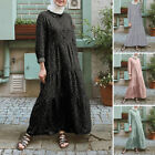 Women Muslim Islamic Abaya Long Sleeve Crew Neck Oversize Swing Maxi Shirt Dress