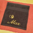 DOG TOWEL - PERSONALISED EMBROIDERED - FLANNEL OR HAND TOWEL GIFT PUPPY