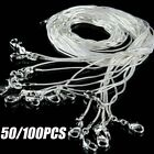 """50/100pcs Wholesale 1mm 925 Sterling Silver Plated Snake Chain Necklace 16""""-24"""""""