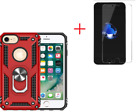 Apple IPhone 7 / 8 Case Red Defense Kickstand Glass Screen Protector Anti-Drop